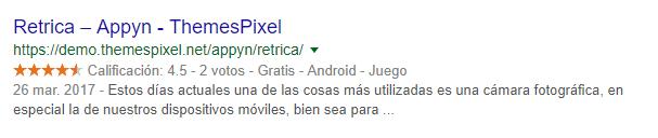 google resultados estrellas